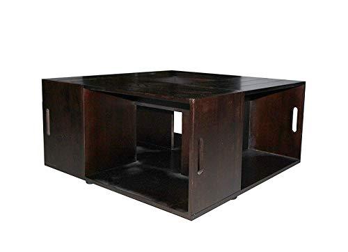 Rebecca Mobili RE4469 Table Basse, carrée, Bois de Paulownia, Marron, Style Country Rustique Salon