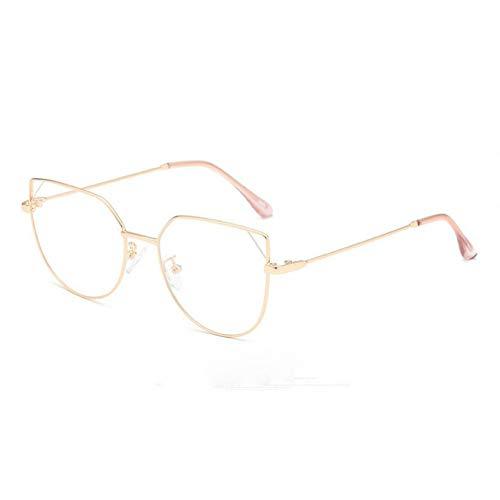 WZYMNTYJ Frau Brille Optische Rahmen Metall Cat Eye Brillengestell Strahlen Klare Linse Eyeware Schwarz Silber Gold Eye Glas