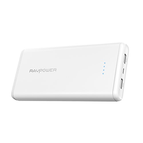 RAVPower 20000mAh Powerbank Externer Akku mit zwei Anschlüsse iSmart 5V/3.4A Gesamt Output, 2.4A Input, für iPhone 8/X, iPad, Galaxy und andere Smartphone, Tablet usw. Weiß