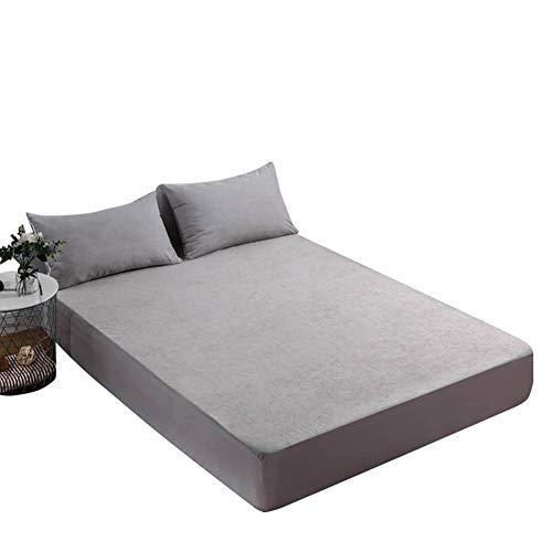 JLOSF Bequem Polyesterfaser Betten, Kissenbezüge Matratze Wasserdicht Atmungsaktive Eco-Friendly Hypoallergen Bettenwette-grau 78×86+11 Inch