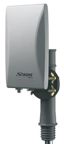 STRONG SRT ANT45 Außenantenne [aktive Antenne, DVB-T2, DVB-T, eingebauter FM-Signalfilter und LTE-Filter, UV resistent und wetterfestes Gehäuse, multifunktionale Aufhängung für Wandbefestigung, Verstärkung 20 dB für VHF/16 dB für UHF, HDTV, Full HD, HD] grau