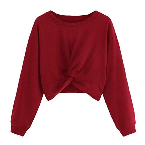 Sweatshirt Damen Crop Top Rovinci Herbst Winter Langarm O-Ausschnitt Einfarbig Langarm T-Shirt Tee Shirt Bandage Bluse Tops Oberteil mit Knoten Pullover Langarmshirt Pulli Rovinci -