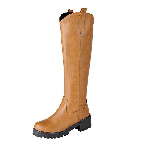 ┃BYEEEt┃ Stivali per Donna - Stivali Alti Donna Boots Lunghi Invernali Scarponi Equitazione Zip Fibbia Stivali Tacco Basso Stivali Pelle Nero/Marro