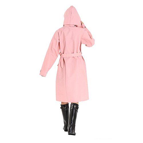 Deylaying Femmes De plein air Randonnée Imperméable Portable Raincoat Double Breasted Encapuchonné Coupe-vent Avec Ceinture Veste Anti-pluie Rose