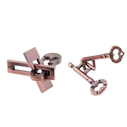 FLAMEER 2 pcs Chinesische Denkaufgabe Flugzeug Schlüssel Schloss Verriegelung Puzzle IQ Test Kinder Spielzeug