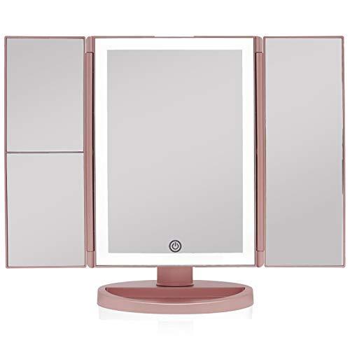 spiegel mit LED Licht und Touchscreen, Schminkspiegel Beleuchtet mit Blendfreier Bleuchtung Batterie und USB-Netzteil, 180° Einstellbare Aufsatz-Tischspiegel (Rose Gold) ()