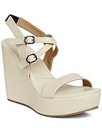 MarcLoire Women's Cream Solid Open Toe Buckle Sandals Wedge Heels