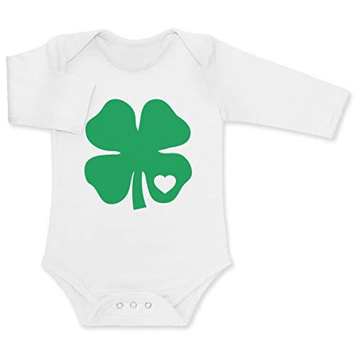 Green Turtle T-Shirts Baby St. Patrick's Day Grünes Kleeblatt mit Herz Baby Langarm Body 3-6 Months Weiß