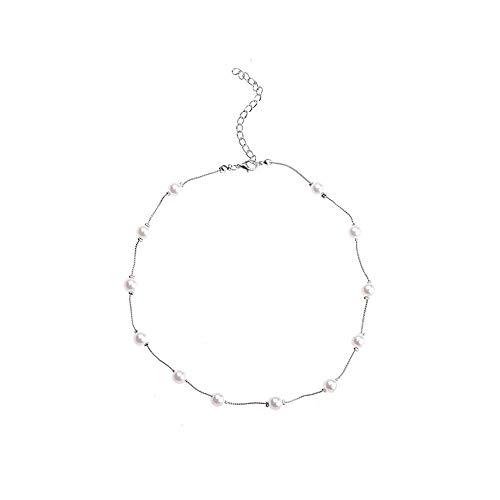Künstlich Perlenkette Halskette Choker Romantisch Frauen Schmuck für Hochzeit Party Club (Silber,Freie Größe) ()