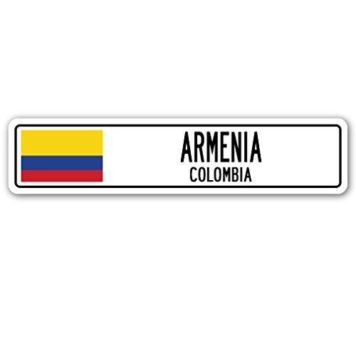 Witziges Schild Geschenk Armenien, Kolumbien Straßenschild kolumbianischen Flagge City Country Road Wand Geschenk Outdoor Metall Aluminium Schild, Dekoration