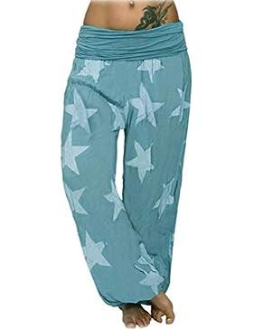 ORANDESIGNE Donna Harem Pantaloni con Estivo Print Boyfriend Aladin Sbuffo Pantaloni Pump Baggy Yoga Jogging Sportivi...