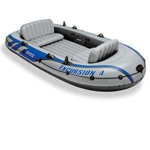 Intex 68324 Excursion 4, 4 Person Inflatable Boat Set with Aluminium Oars and High Output, 3.14 x 1.65 m, Depth: 44 cm