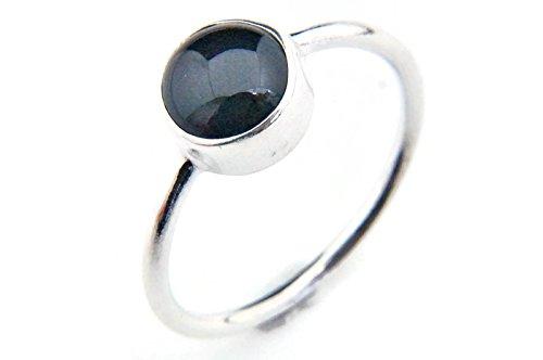 Ring Silber 925 Sterlingsilber Onyx schwarz Stein (MRI 78), Ringgröße:58 mm/Ø 18.5 mm