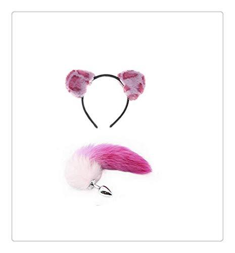 Z-one 1 Leopard Cat Girl Anime Tier Accessoires Fuchs Metall Schwanz Stirnband-B-¨¹tt an-l Pl-¨´g T-?-ys (Pink)