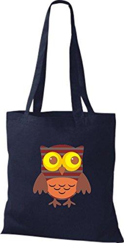 blau ShirtInStyle Tragetasche Retro Bunte Owl Farbe niedliche diverse Stoffbeutel Eule Jute wv7Cqa