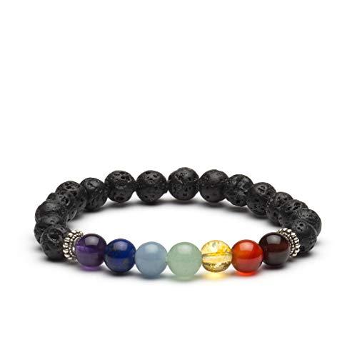 PURLAPIS ® Chakra Armband mit 7 Natursteinen | Perlen - Armband mit echten Edelsteinen | Buddha Armband für Yoga, Meditation oder Zen Buddhismus