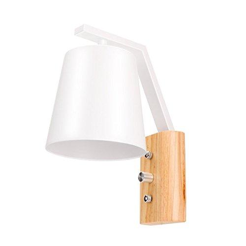 Lampe de luminaire en bois en bois, ONEVER Ensemble d'éclairage mural simple et simple en style nordique avec interrupteur d'alimentation pour chambre à coucher, salon, salle de bébé(pas d'ampoule)
