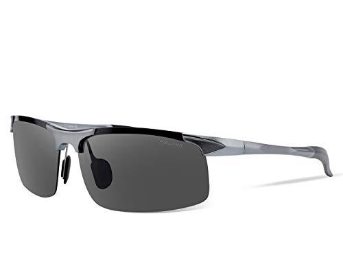 Fawova Fahrradbrille, Polarisiert Sonnenbrille Herren, Fahrrad Sportbrille mit UV400-Schutz Fahrbrille Radbrille Superleichter Rahmen (Grau)