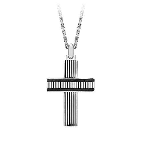 Hoxton London Herren-Halskette Bold Leder Kreuzrippengewölbe 51cm-55cm verstellbar 0.18.4780 (Cross Verstellbare Leder Halskette)