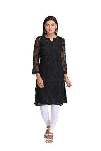 ADA Lucknow Chikan Needlecraft Faux Georgette Regular Wear Kurti Kurta A165598 (XX-Small)
