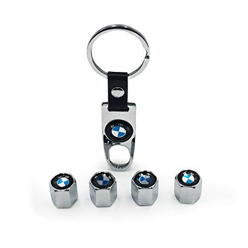 Tappi Valvola per Auto, Lega valvola del Pneumatico gambi Dust Cover Auto Ruota valvola con Portachiavi, 4 Pezzi (BMW)