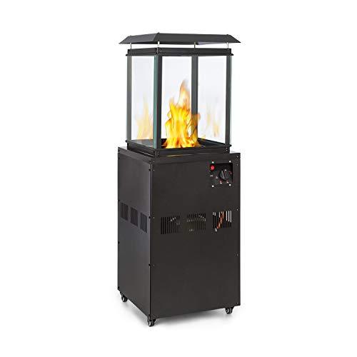blumfeldt Flagranti Gasheizstrahler, Freiluftheizung, 8kW Heizleistung, Gasflaschen bis zu 11kg, 4Sichtfenster aus gehärtetem Glas, Bodenrollen mit Feststellbremsen, elektrisches Zündsystem, schwarz