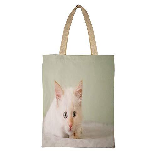 AFUJIN Casual Bag Canvas Umhängetasche Largecanvas Einkaufstasche Double Kitty Color135 * 45Cm - Kitty Shopper Tasche