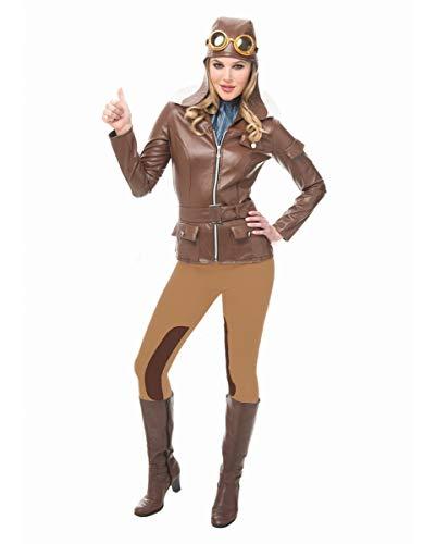 Horror-Shop 5-TLG. Retro Aviator Pilotin Damen Kostüm mit Fliegermütze ()