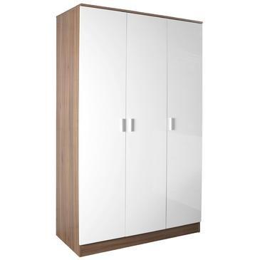 Alina 3 Door Wardrobe White/Teak RRP £150 Our Price £95 - low-cost UK light shop.