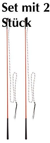 Kontaktstock mit Seil für die Bodenarbeit 120 cm Doppelpack = Set mit 2 Stück| Reitstick | Finesse-Stick | Carrot Stick | Horsemanstick für Parelli Arbeit, Natural Horsemanship | Karottenstecken | Pferde Kontaktstock mit Lederschlappe von Carmesin.com (GRUEN)