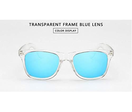 WSKPE Sonnenbrille,Frauen Polarisiert Uv400 Men Night Vision Transparentem Rahmen Eyewear Reflektierender Sonnenbrille Uv400 Transparenter Rahmen,Blaue Linse