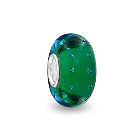 Bling Jewelry Teal Blue Green Bubble Murano glass Lampwork Charm Bead .925 Sterling Silver