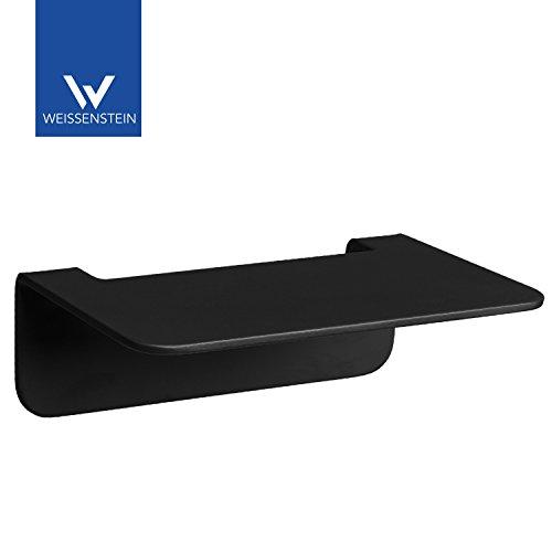 WEISENSTEIN Badablage ohne bohren aus Edelstahl | Seifenablage und Badezimmerablage zum kleben | matt schwarz | Ablage 14 x 10 x 3,5 cm