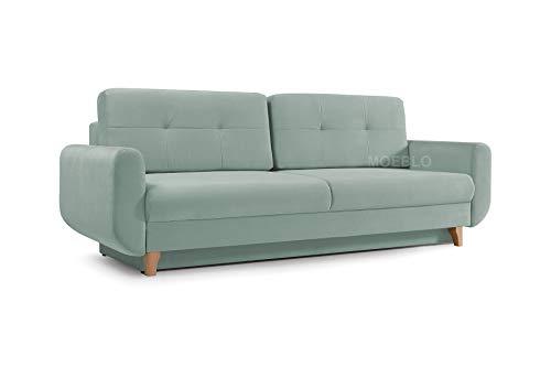 mb-moebel Modernes Sofa Schlafsofa Kippsofa mit Schlaffunktion Klappsofa Bettfunktion mit Bettkasten Couchgarnitur Couch Sofagarnitur 3er Saphir