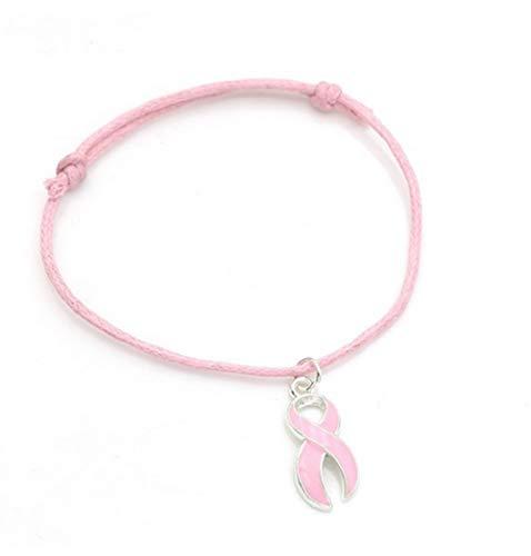 STRASS & PAILLETTES Bracelet Octobre Rose Lutte Contre Le Cancer en Coton Rose Coulissant et Ruban Rose. Octobre Rose.