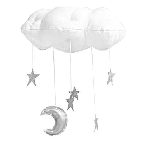 nger Foto-Requisite Baby Mond Mobile Home Deckenhängende Dekoration DIY Kinderzimmer Geschenk Sterne Ornament Kinderzimmer, weiß/silberfarben, Free Size ()
