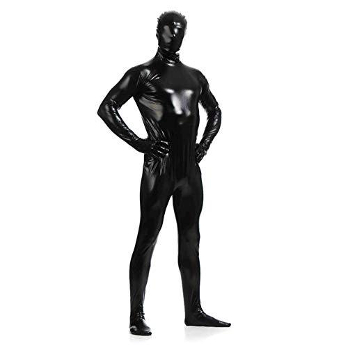 Anzug Kostüm Anonyme - OBEEII Herren Zentai Ganzkörperanzug Lackleder Catsuit Overall Anzug Langarm Bodysuit Männer Ouvert Suit Clubwear Cosplay Playsuit Jumpsuit Bodysuit Schwarz XL