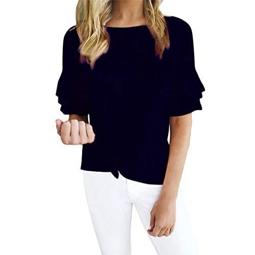 TOPSELD T Shirt Damen, Frauen Sommer BeiläUfige RüSchen Kurze HüLsen Weste T-Shirt Bluse Cami Tops