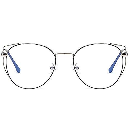 oreille de Chat lunettes rond lunettes lumière bleue bloque Les lunettes Anti Fatigue oculaire Fatigue visuelle argent métallique