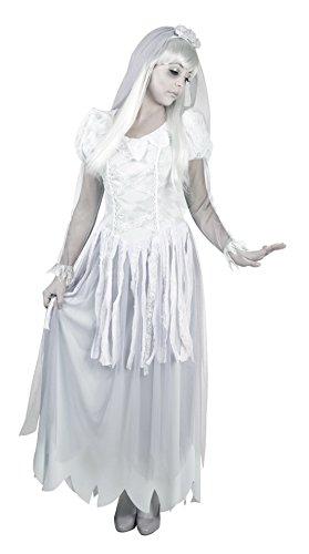 Fancy Ole - Damen Frauen Karnevalskomplettkostüm Geister Braut , Weiß, Größe XL (Sarg Braut Halloween Kostüme)