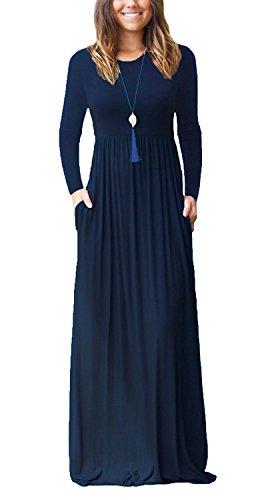 VIISHOW Frauen Langarm bodenlangen kausalen Ebene lose Maxi Tasche Kleid (Navy Blau S)