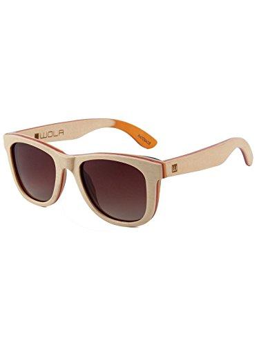 WOLA Damen Herren Sonnenbrille Holz AIR eckige Brille dicke Brücke Skateboard Holz polarisiert UV400 Ahorn Beige Unisex Damen L - Herren M