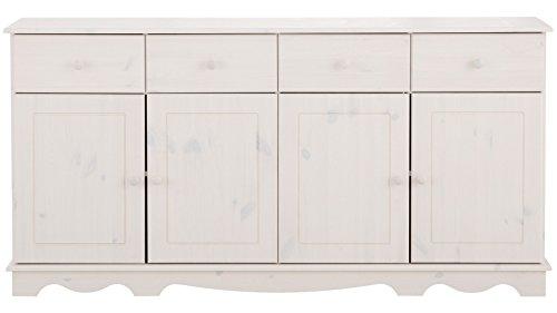 Sideboard, Holztür, Kiefer massiv, gebeizt geölt, havanna, weiß, Holzgriff, 4 Schubladen, T153 x B35 (weiß) - 4