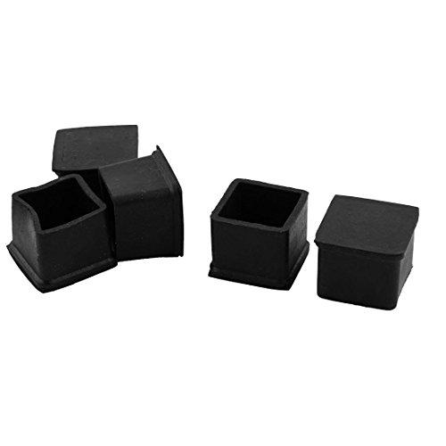 sourcingmap® 5Stk. Büro Gummi Möbeln Tisch Beinschutz Bein Kappe Schutzhülle schwarz 32x32mm (Gummi-kappe)