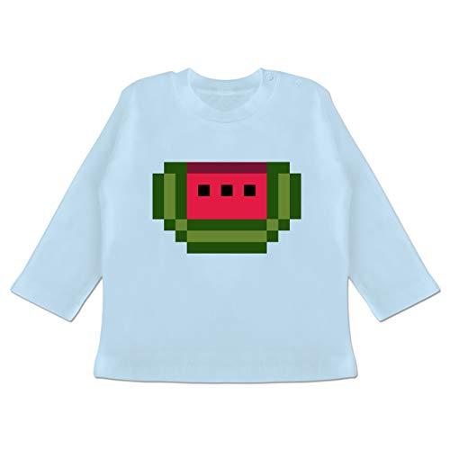 Karneval und Fasching Baby - Pixel Melone - Karneval Kostüm - 18-24 Monate - Babyblau - BZ11 - Baby T-Shirt (Kostüm Nerdy Mädchen)