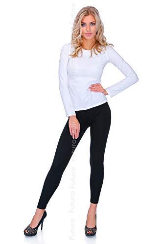 FUTURO FASHION Leggings d'hiver Noir Extra épais pour Femmes avec intérieur en Fourrure Tailles de 18CHL 42 EU