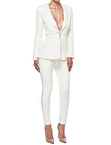 Cytree Damenblazer 2 Stück Anzugset Blazer Baumwolle Jäckchen Geschäfts Freizeit Party Jacke Weiß S Kleid Für Reife Frauen