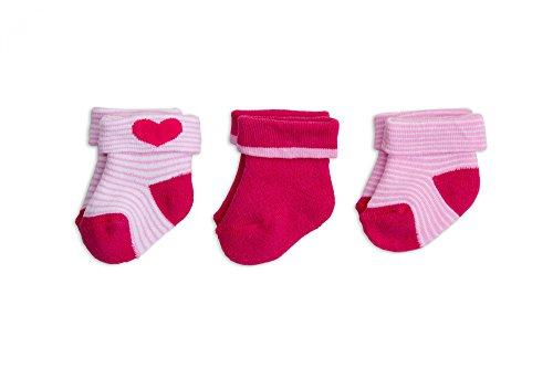 Baby Frottee-Erstlingssöckchen mit Umschlag, one size, 3er Pack, Farbe:pink;Größe:one size