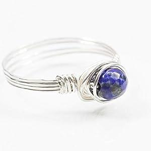 Blauer Edelstein-Ring mit Lapislazuli facettiert und Silber/alle Größen/sorgfältige und kunstvolle Handarbeit