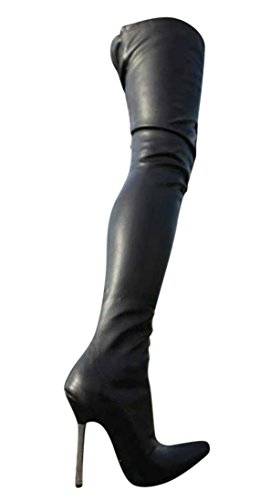 EROGANCE Leder Optik High Heels Crotch Overknee Stiefel A10907L / EU 36-46 Black